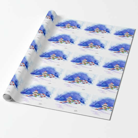 Holiday Hamster Christmas Candy Cane Gift Wrap