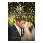 "Holiday Happy New Year Snowflake Confetti Photo 3.5"" X 5"" Invitation Card"