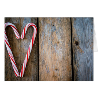 Holiday Heart Candy Canes on Rustic Wood Card