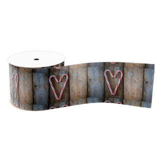Holiday Heart Candy Canes on Rustic Wood Grosgrain Ribbon