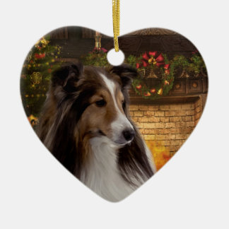 Holiday Heart Sheltie Ceramic Ornament