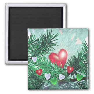 Holiday Hearts and Pine Magnet