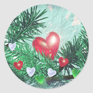 Holiday Hearts and Pine Round Sticker
