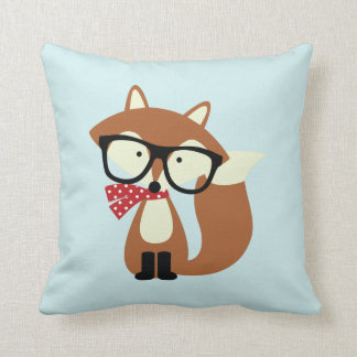 Holiday Hipster Brown Fox Throw Pillow