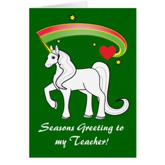 Holiday Holidays Unicorn Card for Teacher