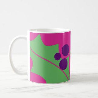 Holiday Holly Berry Mug Pink Purple Green