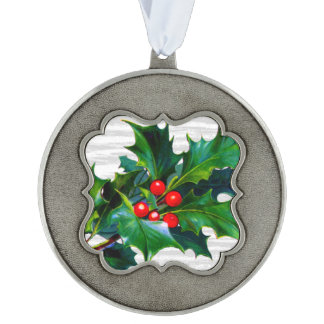 Holiday Holly Greens Red Berries Christmas Tree Scalloped Pewter Christmas Ornament