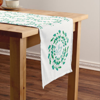 Holiday Holly Leaf Wreath with Joy Short Table Runner