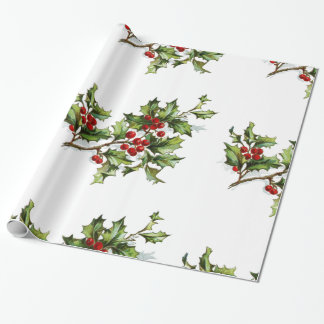 "Holiday Holly Wrapping Paper, 30"" x 6'"