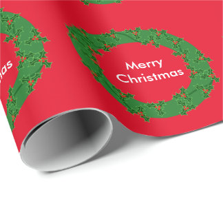 Holiday Holly Wreath Wrapping Paper