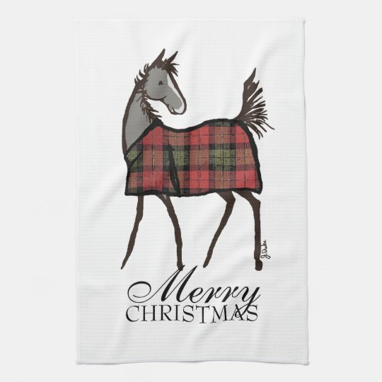 Holiday Horse Foal with Blanket Christmas Towel