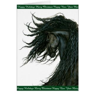 Holiday Horse Greetings Friesian by Bihrle Card