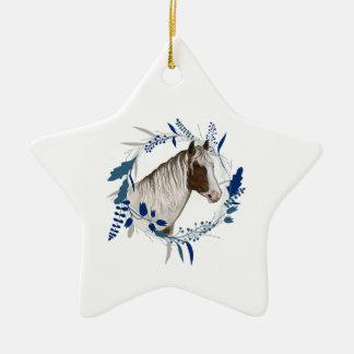 Holiday Horse Wreath Ceramic Ornament