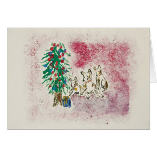 Holiday Hounds Dog Puppy Christmas Greeting Card