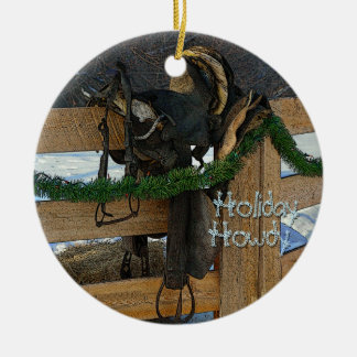 Holiday Howdy Ranch Country Christmas Ceramic Ornament