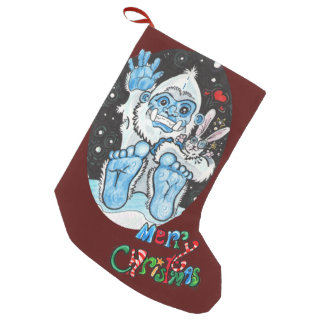 Holiday Hugs Yeti! Small Christmas Stocking