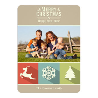 "Holiday Icons (Beige) 5"" X 7"" Invitation Card"