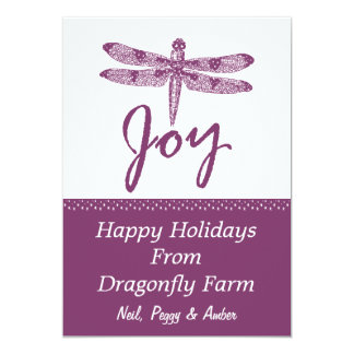 Holiday Joy Dragonfly Purple Flat Card