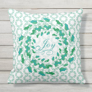 Holiday Joy Holly Leaves Wreath in Blue and Green Throw Pillow