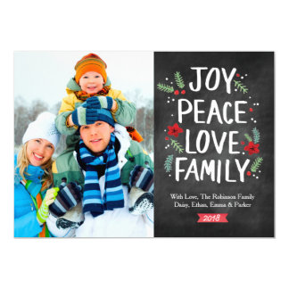 Holiday Joy Peace Love Family 1 Photo Card