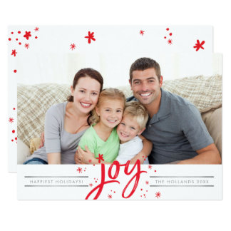 HOLIDAY JOY PHOTO modern simple red sparkles Card