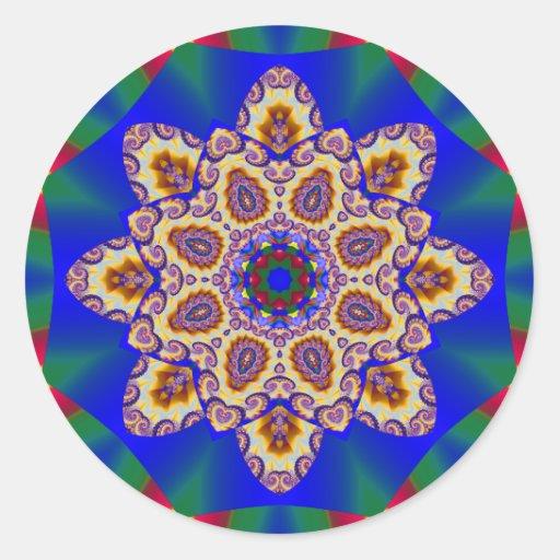 Holiday Kaleidoscope #1 Round Stickers