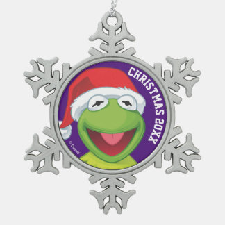 Holiday Kermit 2 Snowflake Pewter Christmas Ornament