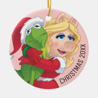 Holiday Kermit and Miss Piggy Ceramic Ornament