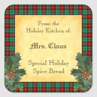 Holiday Kitchen of Holly Plaid Baking Stickers