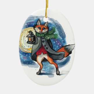Holiday Lantern Fox Chirstmas Decoration! Ceramic Ornament