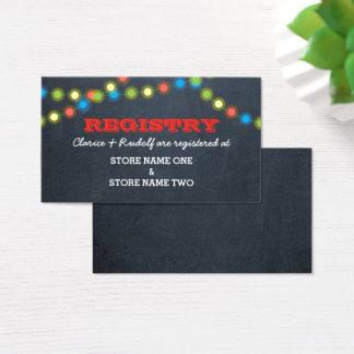 Holiday Lights Chalk Bridal Wedding Registry Business Card