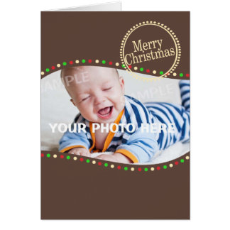 Holiday Lights Modern Photo Brown Card