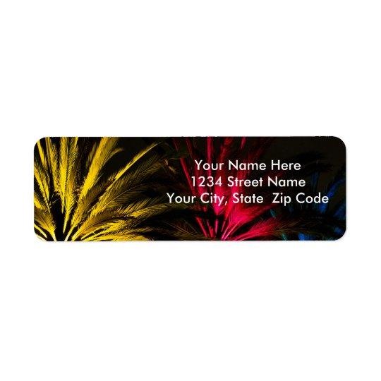 Holiday Lights Palm Trees Return Address Label