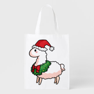 Holiday Llama Elf Grocery Bag