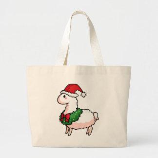 Holiday Llama Elf Large Tote Bag