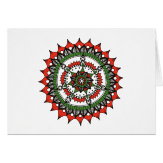 Holiday Mandala, Red, Green and Black Card