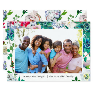 Holiday Merry and Bright Christmas Floral Photo Card