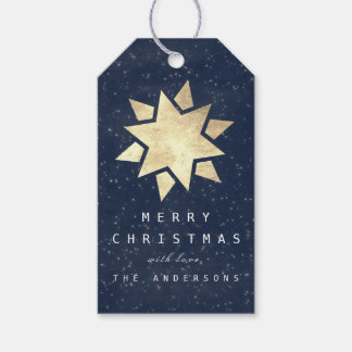 Holiday Merry Gift To Christmas Star Blue Navy Gol Gift Tags