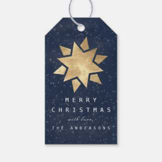 Holiday Merry Gift To Christmas Star Gold Navy Gift Tags