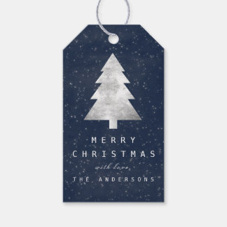 Holiday Merry Gift To Christmas Tree Blue Navy Gift Tags