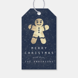 Holiday Merry Gift To Gray Gingerbread Blue Navy Gift Tags