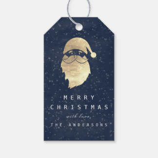 Holiday Merry Gift To Gray Snowman Blue Navy Gift Tags