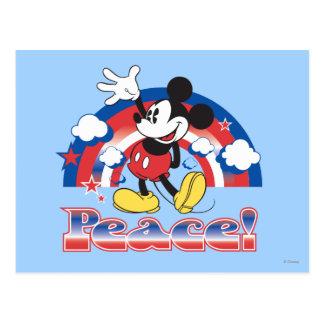 Holiday Mickey | Patriotic Peace Rainbow Postcard