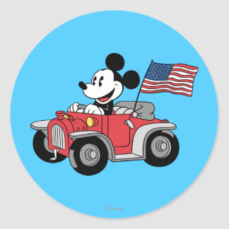 Holiday Mickey | Red Convertible Classic Round Sticker