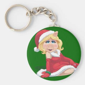 Holiday Miss Piggy 2 Basic Round Button Keychain