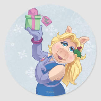 Holiday Miss Piggy Round Sticker