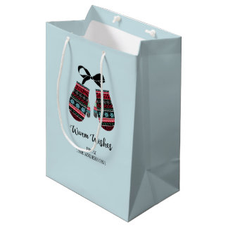 Holiday Mittens Warm Wishes Christmas Gift Bag