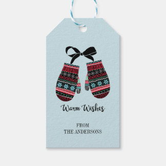 Holiday Mittens Warm Wishes Christmas Gift Tags