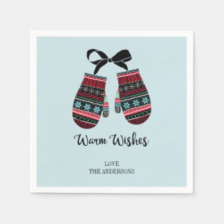Holiday Mittens Warm Wishes Christmas Napkins Paper Napkins