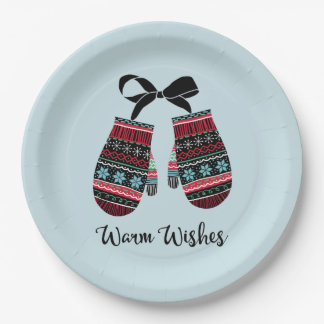 Holiday Mittens Warm Wishes Christmas Paper Plates